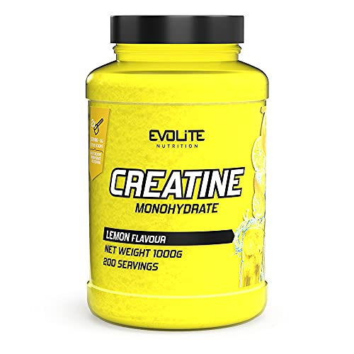 Evolite Nutrition Creatina Monoidrata - Creatina Polvere - Creatine Monohydrate - Integratori Palestra - Creapure Creatine - Integratore Massa Muscolare (Limone, 1000 g)