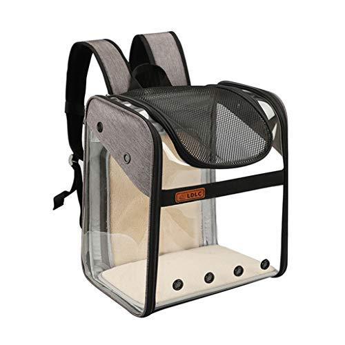 Manylifefashion, Mochila transportadora para mascotas, transparente y visible, plegable, transpirable, panorámica, para mascotas, para hombro, transparente, bolsa para gatos (gris)