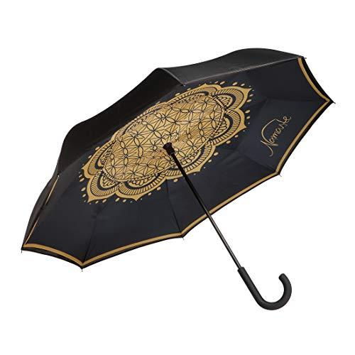 Goebel Regenschirm Lotus Blume des Lebens 23500051 Stockschirm schwarz mit Upside/Down Öffnung