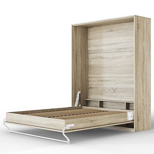 SMARTBett Standard 160x200 Vertikal Eiche Sonoma Schrankbett | ausklappbares Wandbett, ideal geeignet als Wandklappbett fürs Gästezimmer, Büro, Wohnzimmer, Schlafzimmer
