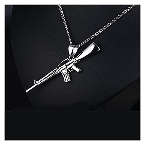 DJDEFK Necklace Gold Chain Necklace Men m416 Gun Pendant Men Necklace Stainless Steel Gifts Male Accessories Jewelry The Neck Hip hop Choker (Length : 60cm, Metal Color : Steel Color)