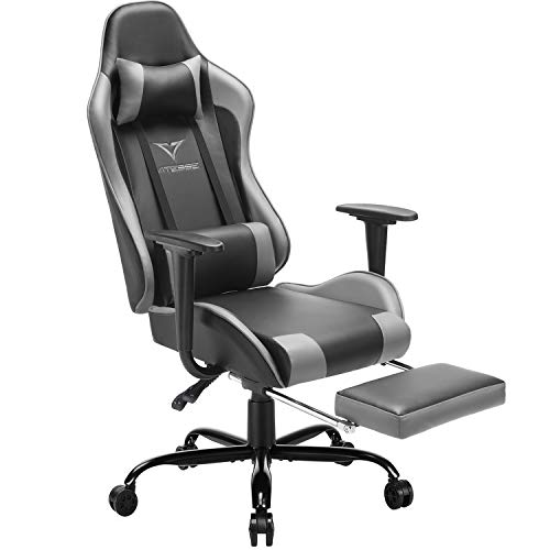 Vitesse Gaming Chair with Footrest Racing Style Computer Office Chair Adjustable Swivel Ergonomic PC Desk Bucket Seat Chair with Lumbar Support and Headrest (Grey) chair gaming