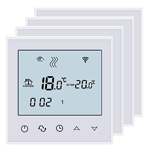 Beok tds21 Wifi Digital Raumthermostat Fußbodenheizung Thermostatheizkörper Wandthermostat programmierbar Room mit großer LCD-Bildschirm Fernbedienung durch Smartphone App(4packs))