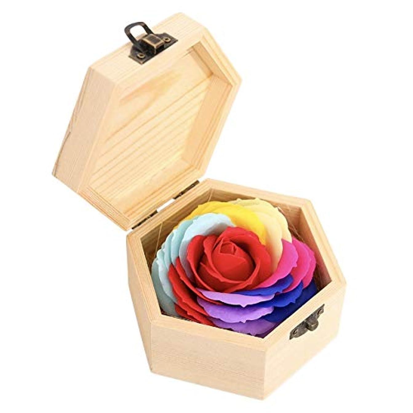 漁師アンプ砂タイガーリー。 バスソープ 花 バラ クリエイティブギフト 木製ボックス付き パーティー用品