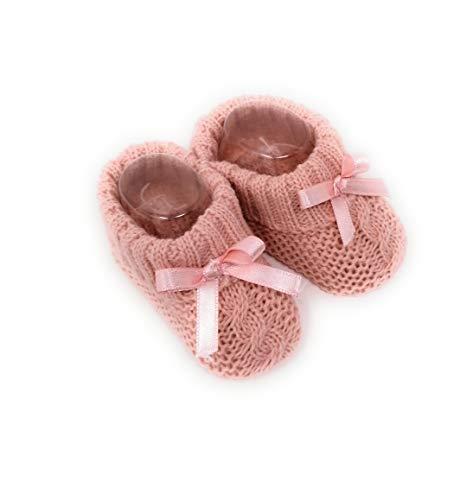 Paar Babyschuhe für Neugeborene, gestrickt, Rosa, mit Band