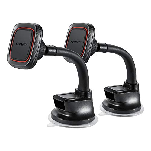 [2 Pack] Ultimate Flexible Arm Magnetic Dash Mount Windshield Phone Holder w/Strong Sticky Suction Cup Compatible with iPhone 11 Pro Xs Max XR X 8 Plus Samsung Galaxy S20 S10 S9 S8 Edge Note 8 Sony Z5