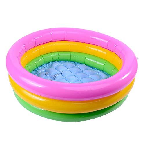 Tnfeeon DREI Ring Regenbogen Faltbare Aufblasbare Schwimmwanne Spielzeug Runden Pool Baby wasserdichte Spielhaus Sand Tisch Angeln Spielzeug Kleinkinder Dusche Badewanne für Kinder Kinder(60cm)