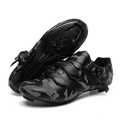 Tmpty Cycling Shoes For Men And Women Discoloration Self-locking Bicycle Road Cycling Riding Shoes For Indoor And Outdoor Cycling (Color : Gray-Road, Size : 12.5)