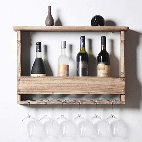 WZHZJ Madera sólida gabinete del Vino, Estante del Vino, Vino del cubilete Estante, Estante de Pared Decoración Rack, Simple (Color : Light Color)