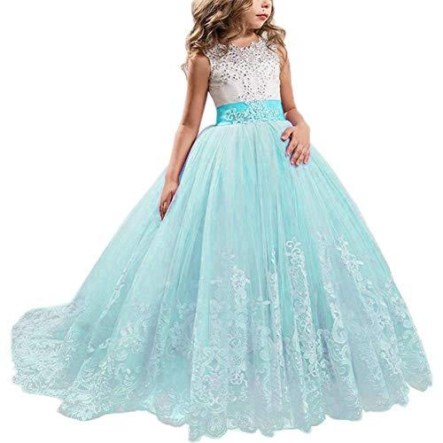 NNJXD Niñas Bordado De Encaje Flor De La Boda Fiesta De Cumpleaños Princesa Vestido de Cola Larga Tamaño (130) 7-8 Años Azul