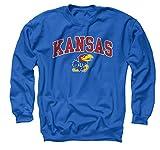 Campus Colors NCAA Adult Arch & Logo Gameday Crewneck Sweatshirt (Kansas Jayhawks - Royal, Large)