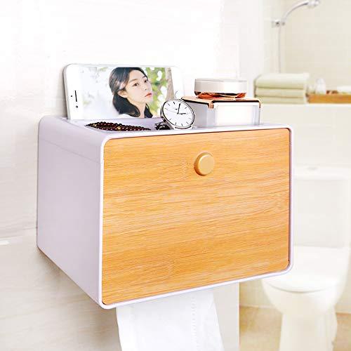 Joeesun Tissue-Box Hand Tablett frei Stanzen Papier Rohr Papier Toilettenpapier Tablett wasserdicht Toilettenpapier Regal, einlagige Bambus Holzmaserung T41