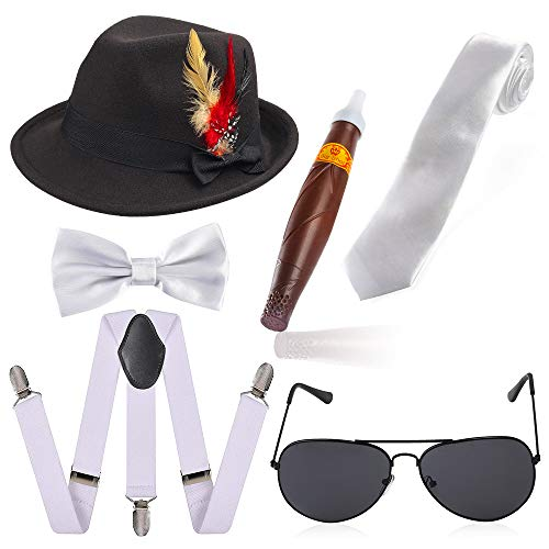 Haichen jaren 20 accessoires voor mannen Manhattan Trilby Fedora hoed Y-back bretels & voorgebonden vlinderdas, stropdas, gangster zonnebril, speelgoed sigaar en nep snor Gatsby gangster kostuumset (Zwarte hoed)
