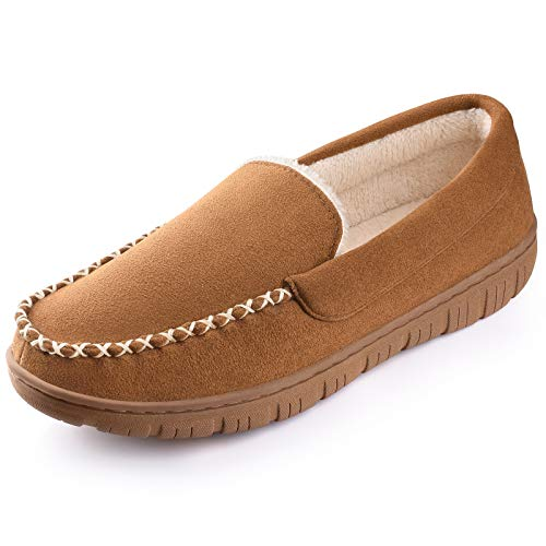 Homitem Mens Slipper Moccasin Slippers for Men Cozy Coral Fleece Lined Anti-Slip House Slipper Brown Size 7