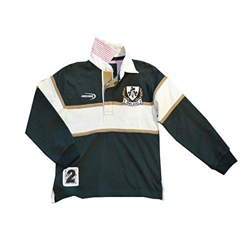 Traditional Craft Ltd. Lansdowne Bottle Green and Natural Ireland Shamrock Long Sleeve Kids Rugby Shirt (5-6 Years)