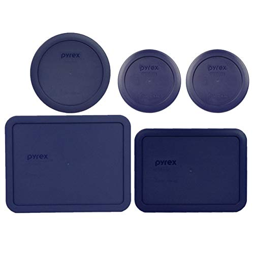 Pyrex (2) 7200-PC 2 Cup, (1) 7201-PC 4 Cup, (1) 7210-PC 3 Cup, and (1) 7211-PC 6 Cup Blue Plastic Storage Lids