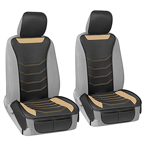 Motor Trend LuxeFit Beige Faux Leather Car Seat Covers for Front Seats, 2 Piece Set – Premium Universal Fit Interior Protector, Padded Leather Seat Cover Cushion for Auto Truck Van & SUV
