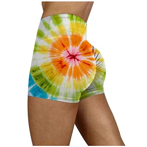 Xniral Yoga Shorts Damen Tie-Dye Bedruckte Workout Leggings mit Hoher Taille Basic Slip Bike Shorts Stretchy Summer Sport Running Short Pants(f-Grün,S)