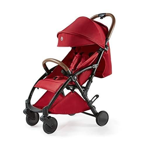 WFCVS Sillas de paseo Puede ser mejor que los cochecitos de bebé Se puede sentar, recostarse Carrito de bebé, Carro de bebé recién nacido de 1-3 años, plegado ultra ligero, Gules
