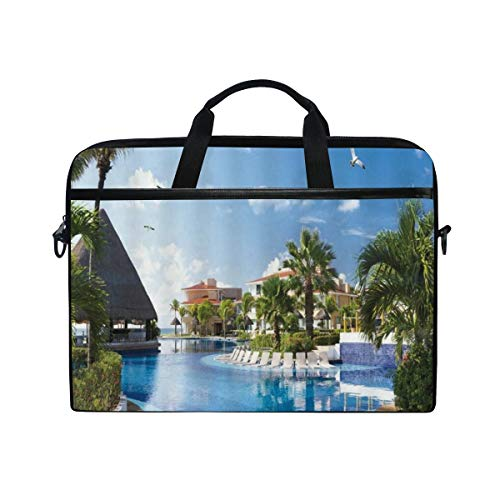 FOURFOOL 15-15.6 inch Laptop Bag,Ocean Summer Sunny Resort Seagull Flying Over Holiday Villa Gazebo Palm Trees Swimming Pool Sky,New Print Pattern Briefcase Shoulder Messenger Handbag Case Sleeve