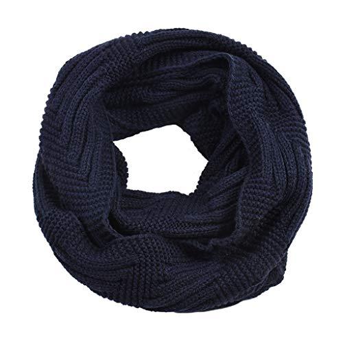 Herrenschal, doppelschichtig, Fleece, Winter-Halswärmer, Zopfstrick, gerippt, Unendlichkeits-Schal, Kreis-Schal, praktisches Geschenk (Farbe: Grau)