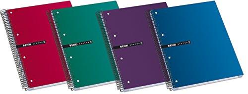 Enri, Cuadernos A4+ Microperforados, Pack de 5 Libretas Status de Tapa Extradura, 160 Hojas Blancas, Colores Aleatorios