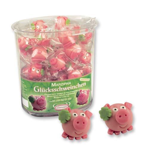 50 Marzipan Schweinchen | Marzipanschweinchen | Schwein aus Marzipan in Box | Glückbringer | Kundengeschenk