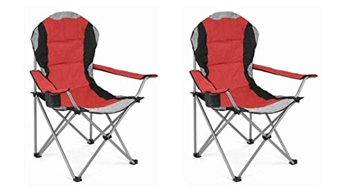 Hyfive Folding Camping Chair Heavy Duty Luxury Padded High Back Camping Fishing - Red - 2 Chairs