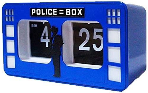 BRFDC Reloj Despertador Doctor Who Click Click Home Decor Desk Clock Retro Auto Flip Down Vintage Reloj Batería de Acero Inoxidable Relojes Digitales para Sala de Estar Decoración