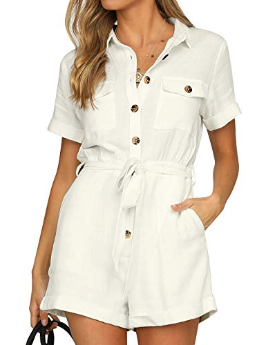 GRAPENT Women's Ivory Casual Short Sleeves Button Down Pocket Belted Jumpsuits Rompers Size X-Large (Fits US 16-18)