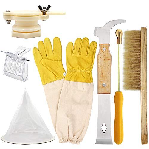 M.Z.A 7-teiliges Imkerwerkzeug-Set 7-in-1 – Bienenenbürste, Entdeckungskratzer Königin, Bienenfänger, Spurdraht, Honigfilter, Honigventil, Tor, Imker, Handschuhe für Imker