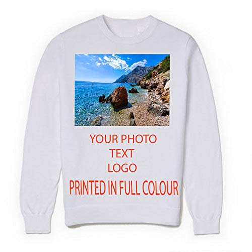 MFAZ Morefaz Ltd personnalisé sweat-shirts Pulls molletonnés personnalisé, Unisex Jumper texte, logo brodé (Blanc, 3XL)