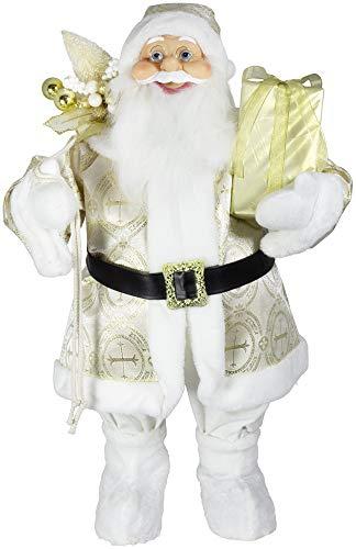 Figura decorativa de Papá Noel (80 cm), color blanco y dorado