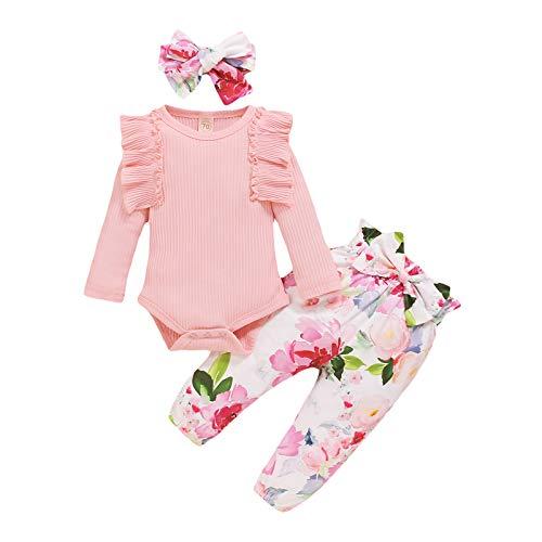Geagodelia Baby Kleidung Mädchen Langarm Body Strampler Blumen Hose Stirnband Baby Neugeborenen Set Mädchen Outfit Babykleidung Set (Pink, 0-3 Monate)