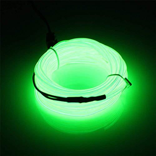 5 Mt EL Draht Neonlicht Flexible Tragbare Licht Neonröhre Beleuchtung EL Draht Pack Treiber mit 3 Modi Hohe Helligkeit für Weihnachten Party Dekoration Hochzeit Pub (Fluoreszierend Grün)