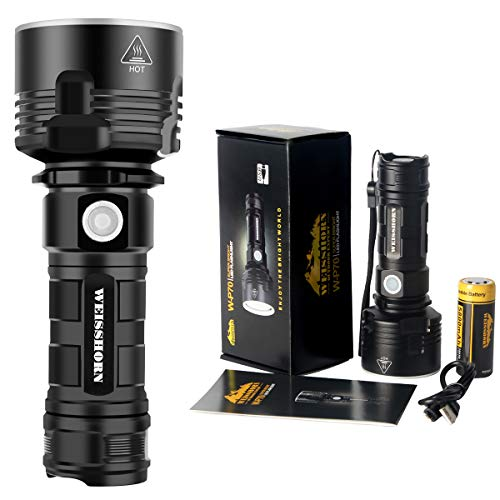 High-Powered LED Flashlights, WEISSHORN P70 High Lumens CREE LED Flashlight Super bright, Handheld Light Rechargeable(with 5800mah battery), 3 mode, Water-Resistant | Outdoor, Emergency, Everyday Use