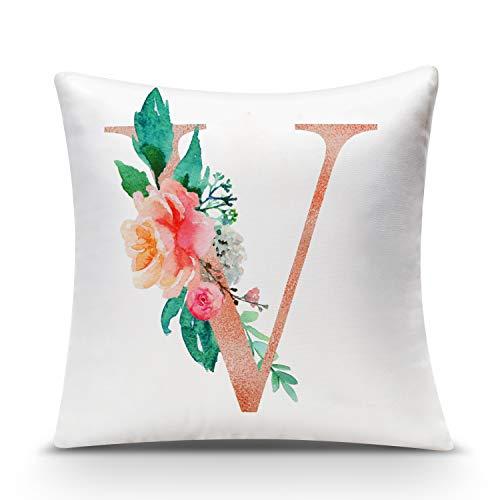 Aibesser - Federa per cuscino con lettere dell\'alfabeto, in velluto, senza imbottitura, con stampa floreale, con nome, chiusura lampo nascosta, bianco, 45 x 45 cm