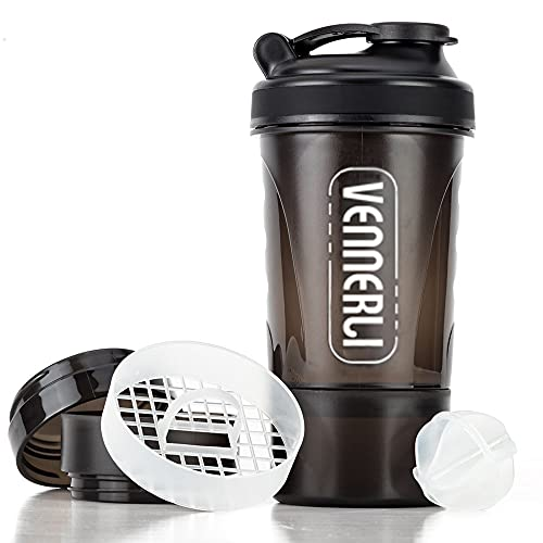 BOTTLED JOY Protein Shaker Bottle 20 oz ShakeMixerBottle with Storage, 600ml Gym Water Bottle Mixer for Quick Easy Nutrition Supplement