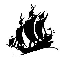 MX-XXUOUO 15.1cm * 15.1cm風と波の船のボート芸術的な概念の帆ビニールデカールクールな装飾車のステッカーC27-0512-黒,2 PCS