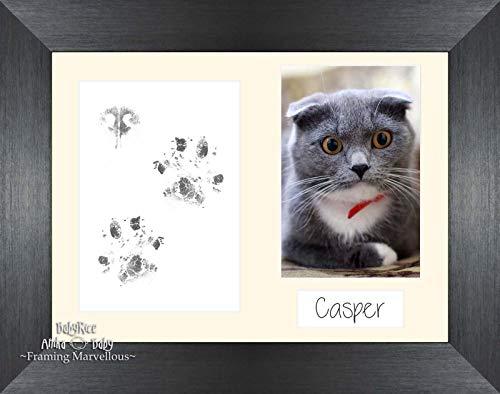 Anika-Baby Cat Animal Patte pattes kit cadre photo en étain brossé Lot de chaton Cadeau mémoire empreintes personnaliser vous-même