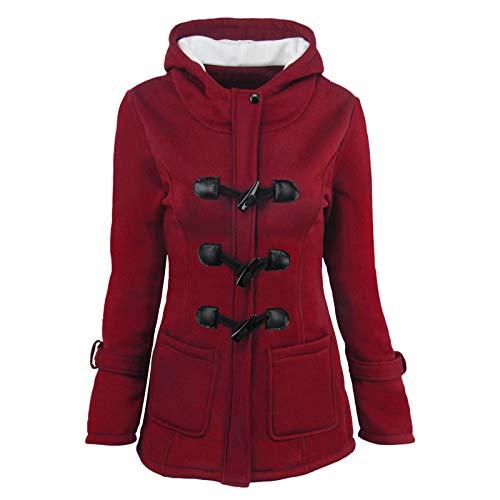KissYou Damen Hoodie Parka Jacke Premium Baumwolle Fleece MäNtel Winter Hooded Horn Button Coat Casual Jacken FüR Frauen(#06,XXL)
