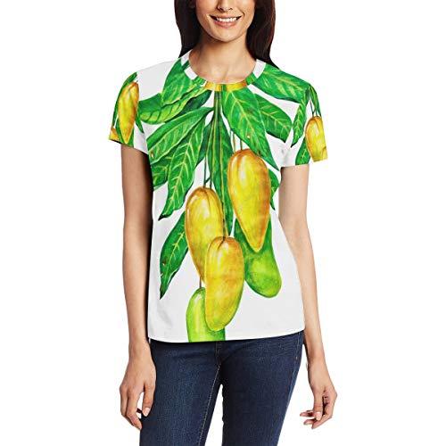 Mango Op De Boom Vrouwen Casual T-Shirt Korte Mouw Tuniek Tops Ronde hals Blouse Comfy