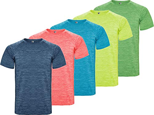 Camiseta Deporte Hombre   Pack 5   Tejido técnico Profesional   Transpirable   Running, Fitness, Fútbol, Padel   Manga Corta (Combinación 1, XXL)