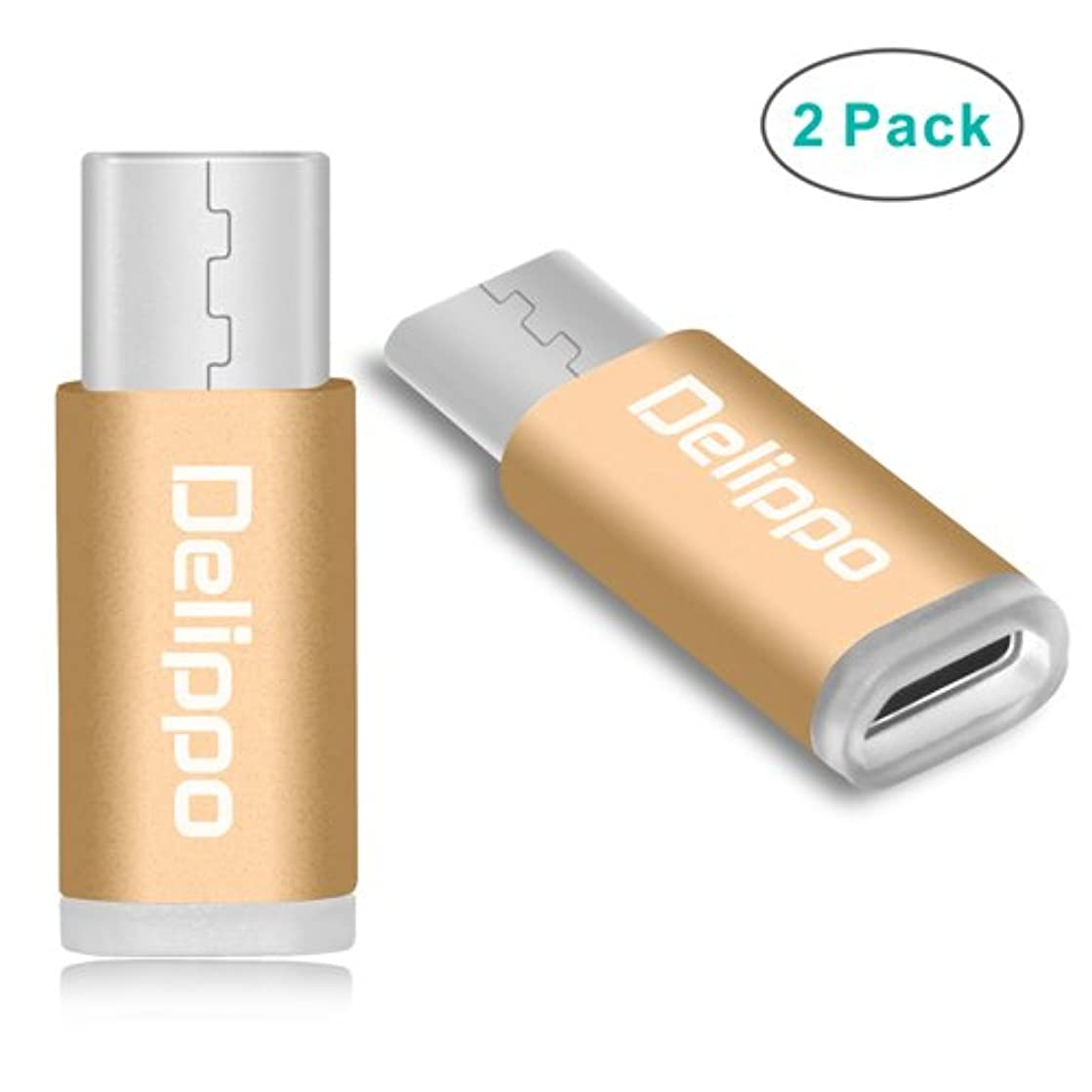 DELIPPO USB C Adapter [2 Pack] USB Type C to Micro USB Convert Connector for Apple MacBook 12 Inch ChromeBook Pixel Nexus 5X 6P HTC10 Nokia N1/OnePlus 2 Tablet and More (Gold)