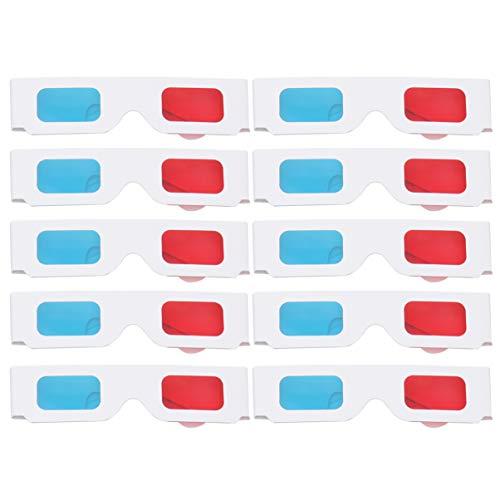 Healifty 10 Piezas de Papel Gafas 3D Rojo y Cian Marco Blanco cartón anaglifo para Cine Cine