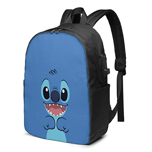 Fashion Leisure Backpack For Girls And Boys, Large Laptop Backpack, Waterproof Business Carry On Backpack For Men And Women, Water Bottle Pockets Daypack,Disney Lilo Stitch Cute Blue