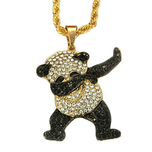 Vokee Animal Panda Colgante Hip Hop Dancing Funny Rock Hip Hop Collar para hombre