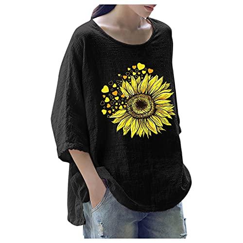 URIBAKY - Camicetta da donna stampata alla moda, con scollo rotondo, top a maniche lunghe, con stampa Streetwear, A nero., L