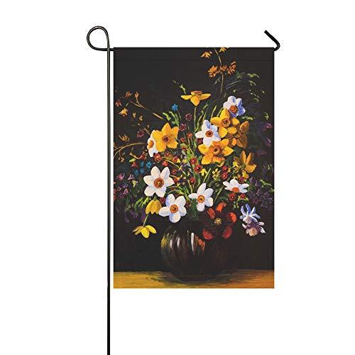 Home Dekorative Outdoor Doppelseitiges Ölgemälde Frühlingsblumen Vase Auf Garten Flagge, haus Hof Flagge, garten Hof Dekorationen, saisonale Willkommen Outdoor Flagge 12 X 18 Zoll Frühling Sommer Ges
