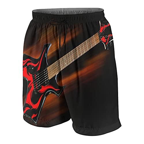 RUBEITA Herren Beiläufig Boardshorts,Heavy Metal Fire Gitarre,Schnelltrocknend Badehose Strandkleidung Sportbekleidung mit Mesh-Futter